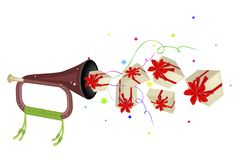 A Musical Bugle Blowing Many Gift Boxes Royalty Free Stock Photo