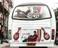 Musical bus. Simple bus in one Mizoram road stock photography