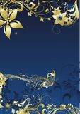 The musical butterfly. The gold butterfly flying under notes on on a dark blue background in an environment of a vegetative ornament Stock Image
