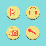 Musical buttons on blue background. Set with multimedia symbols. flat design modern vector illustration Stock Images