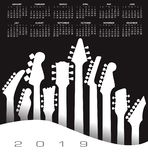 2019 musical calendar with a guitar vector illustration