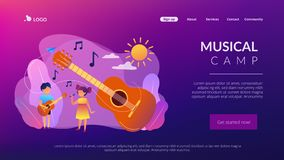 Musical camp concept landing page. stock illustration