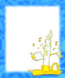 Musical candle singing. Illustration of a blue frame with a candle in a brass candlestick holder with both flame and comic facial features singing from a musical royalty free illustration