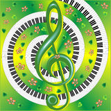 Musical card with with treble clef Royalty Free Stock Photo