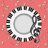Musical card with treble clef and fingerboard Stock Image
