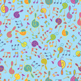 Musical cartoon seamless pattern Royalty Free Stock Images