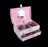 Musical children's jewelry box with jewelry Stock Photos