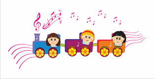 Musical children train Royalty Free Stock Photos
