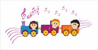 Musical children train stock illustration