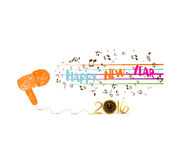 Musical Christmas and happy new year 2016 background 2016.  Stock Photos