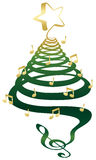 Musical Christmas tree. A musical Christmas tree with treble clef, notes and star Stock Image