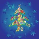 Musical christmas tree. Background, vector illustration Stock Photo