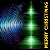 Musical christmas tree card with vinyl grooves Royalty Free Stock Images