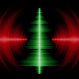 Musical christmas tree card with vinyl grooves. Card with music waveform as christmas tree and vinyl grooves Stock Photos