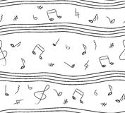 Musical or classic music notes seamless beautiful simple black a Stock Photo