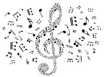 Musical clef with notes Royalty Free Stock Photo