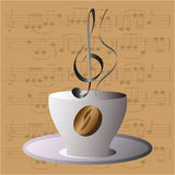 Musical coffee cup with color variations Royalty Free Stock Photography