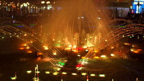 Musical colorful fountain at night show. stock footage