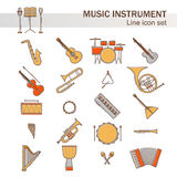 Musical colorful instruments icons set isolated. Vector classic element illustration. Saxophone cello horn guitar piano. Harp and others silhouette collection Stock Photos
