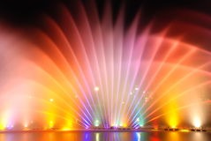 Musical colourful fountains Stock Images