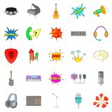 Musical composition icons set, cartoon style. Musical composition icons set. Cartoon set of 25 musical composition vector icons for web isolated on white Stock Images