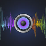 Musical Concept. Audio Speaker and Equalizer on. Dark Background. Vector illustration Stock Photography