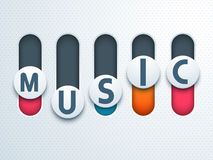 Musical concept with text on toggle button. Stock Images