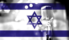 Musical concert, flag of Israel close up Stock Images