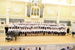 Musical concert in main hall of the State Academic Chapel. Royalty Free Stock Image