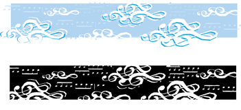 Musical Day banner. A illustration depicting clouds created from treble clefs and a musical note skty, both color and black and white versions included, perfect royalty free illustration