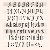 Musical decorative notes alphabet font hand mark music score abc typography glyph paper book vector illustration Royalty Free Stock Photography