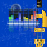 Musical design, equalizer and guitar strings Royalty Free Stock Photo