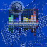 Musical design equalizer and guitar Royalty Free Stock Photography