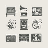 Musical device set of icon Royalty Free Stock Photos