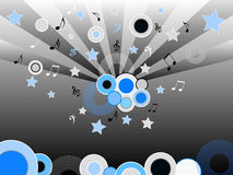 Musical discs and stars. Discs and stars with musical notes Royalty Free Stock Photography