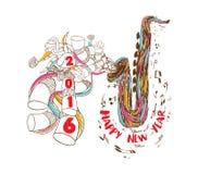 Musical do ano novo feliz 2016 com arte da garatuja de Jazz Saxophone ilustração royalty free
