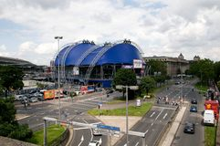 Musical Dome (Cologne). The blue Musical Dome near the river Rhine is Germany's Royalty Free Stock Photo