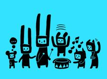 Musical doodles. A hand drawn hares musicians group Royalty Free Stock Photos