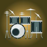 Musical drum kit wood rhythm music instrument series percussion musician performance vector illustration. Musical drum kit wood rhythm music instrument series Stock Photos