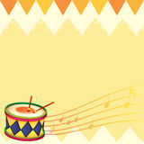 A musical drum with musical notes Royalty Free Stock Photo