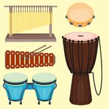 Musical drum wood rhythm music instrument series. Set of percussion vector illustration. Drummer musician cultural handmade orchestra art performance indigenous Stock Images