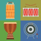Musical drum wood rhythm music instrument series percussion musician performance vector illustration. Musical drum wood rhythm music instrument series set of Stock Photography