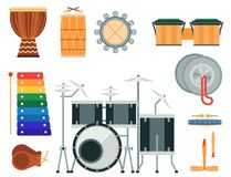 Musical drum wood rhythm music instrument series percussion musician performance vector illustration. Musical drum wood rhythm music instrument series set of Royalty Free Stock Images