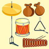 Musical drum wood rhythm music instrument series set of percussion vector illustration. Drummer musician cultural handmade orchestra art performance indigenous Royalty Free Stock Photos