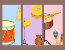 Musical drum wood rhythm music instrument series set of percussion vector illustration. Drummer musician cultural handmade orchestra art performance indigenous Stock Photos