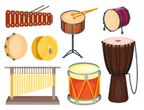 Musical drum wood rhythm music instrument series set of percussion vector illustration. Drummer musician cultural handmade orchestra art performance indigenous Royalty Free Stock Images