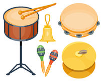 Musical drum wood rhythm music instrument series set of percussion vector illustration. Drummer musician cultural handmade orchestra art performance indigenous Stock Photography