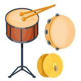 Musical drum wood rhythm music instrument series set of percussion vector illustration. Drummer musician cultural handmade orchestra art performance indigenous Royalty Free Stock Image