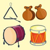 Musical drum wood rhythm music instrument series set of percussion vector illustration. Drummer musician cultural handmade orchestra art performance indigenous Stock Images