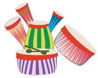 Musical Drums. Illustration of musical drums in group location Royalty Free Stock Image